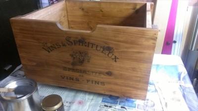 ワイン箱風収納BOX 塗装